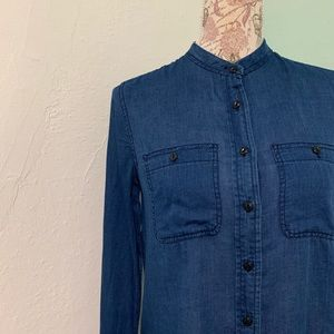 J. Crew Blue Collarless Button Up Shirt In Indigo